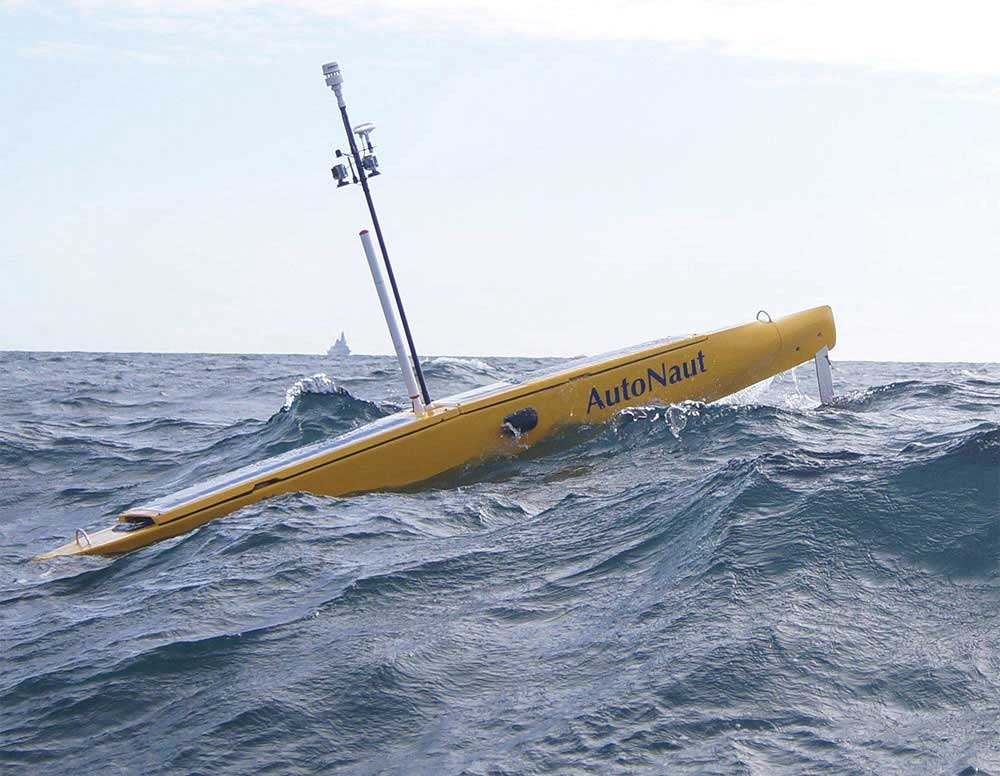 AutoNaut is an Unmanned Surface Vessel (USV) propelled by the motion of the waves